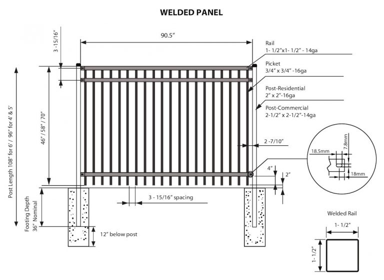 ornamental fence welded panel specs illustration